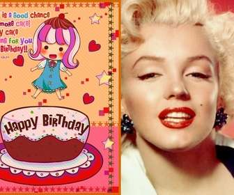 Ejemplo: Tarjeta de cumpleaños para niños. Con una foto de una niña con un pastel, corazones y estrellas.