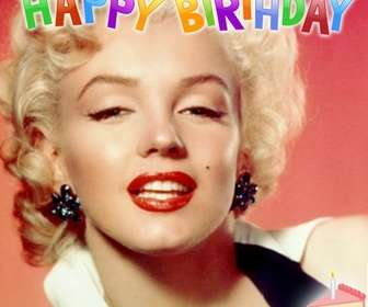 Cartão de aniversário para colocar sua foto no fundo. Letras coloridas, velas e um bolo!