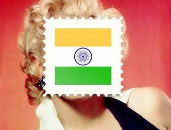 Bandera de india en forma de sello postal para poner en - Colocar fotos en pared ...