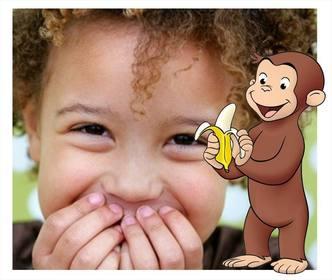 Bilderrahmen mit dem Charakter Curious George eine Banane
