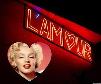 """Effet photo avec le mot """"lamour"""" en néon et dajouter votre photo à lintérieur dun coeur"""