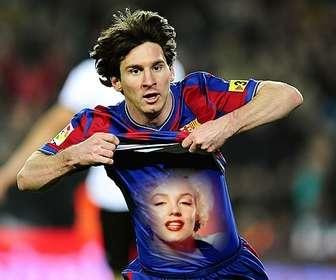 Fotomontaggio di mettere la tua foto sulla maglietta di Leo Messi.