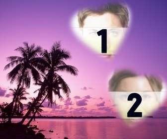 Ejemplo: Cartão onde você pode colocar duas fotos em forma de coração com uma paisagem maravilhosa de mar e palmeiras em tons de lilás.