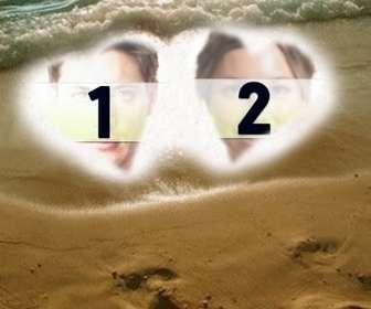 crea postal san valentin personalizada online fondo fotos aparecen corazones arena playa marco