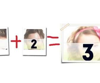 Montaje fotográfico consistente en un marco para tres fotografías, representa una ecuación amorosa. Crea tu tarjeta de San Valentín, día de los enamorados y personalízala con fotos.
