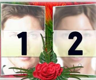 Ejemplo: Elegante montagem de duas fotos em uma moldura de verde e vermelho desenhos de flor. Com rosas no meio. Ideal para um casal apaixonado. Como um lembrete de datas importantes e Dia dos Namorados.