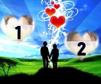 Marco online con dos corazones y de fondo una pareja.