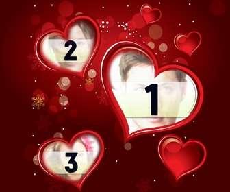 marco color rojo fotografia digital aparecera tres corazones complementa regalo san valentin detalle lleno amor