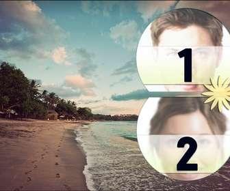 collage amor playa tropical poner fotografias mar atardece