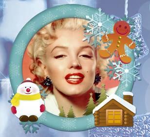 Online-Foto-Rahmen mit Schnee für Ihre Weihnachtskarte.
