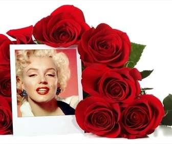 Photo frame on-line rodeado por um buquê de rosas.