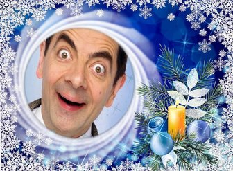 Weihnachtskarte mit Schneeflocken Ihr Foto in einem Kreis zu setzen.