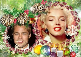 Marco de Navidad para poner dos fotos en unas guirnaldas moradas.