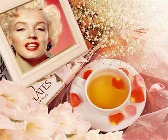 Photo frame with flowers to put your picture with rose petals and a cup of tea.