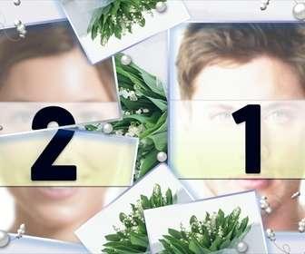 Marco para dos fotos con fondo de flores verdes y perlas.