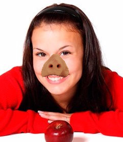 Sticker of a pig nose that you can put on the face of the photo that you upload