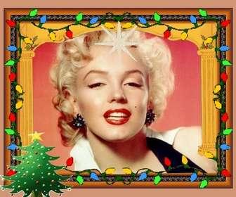 Scheda animato di Natale con luci e albero di Natale. luci colorate