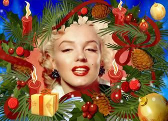 Cornice di Natale con una ghirlanda con candele