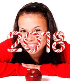 Felicita el nuevo año 2018 con los números con forma de caramelos