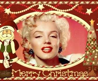 Ejemplo: Postal de navidad de santa claus, antigua personalizable con foto.
