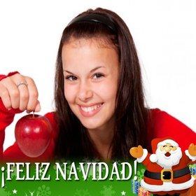 Postal de Papa Noel felicitando la Navidad