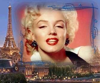 Ejemplo: Marco para fotos con París de fondo, la ciudad del amor para hacer con una foto.