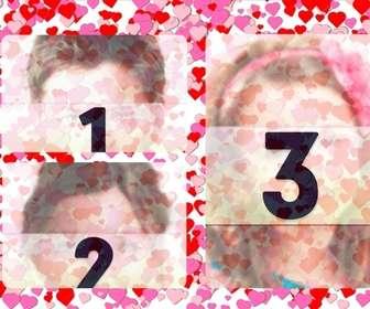 marco fotos 3 fotos amor pequenos corazones rojos rosas fondo blanco