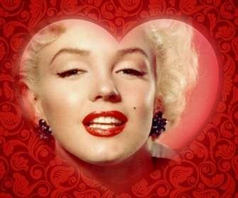 Scheda romantica con un cuore per personalizzare la tua foto con una cornice rossa e aggiungere testo.