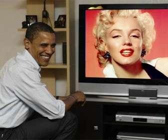 Fotomontage zu setzen Barack Obama mit Ihrem Foto, wo der Präsident auf einem Fernseher neben ihr erscheint.