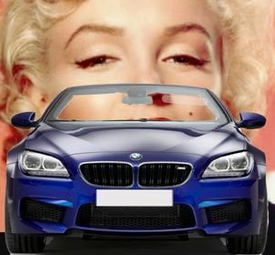 Conduire une BMW décapotable bleu avec ce photomontage dans lequel vous pouvez mettre votre photo à regarder comme vous êtes au volant d