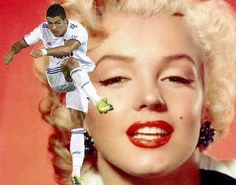 Photomontage with Cristiano Ronaldo of Real Madrid Football training white uniform.