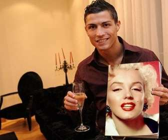 Photomontage with Cristiano Ronaldo holding a magazine with your picture on its cover and a glass of champagne in the other hand.