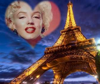 Fotomontagem em Paris, com a Torre Eiffel iluminada e um coração lightframe forma semitransparente no céu para colocar sua foto.