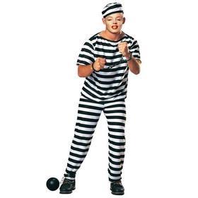 Ejemplo: Crea fotomontajes poniendo tu cara en esta imagen de un preso con cadenas y ropa de rayas negra y blanca.