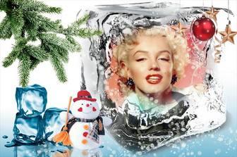 Weihnachtsschablone Ihr Foto auf einem Eiswürfel zu setzen.