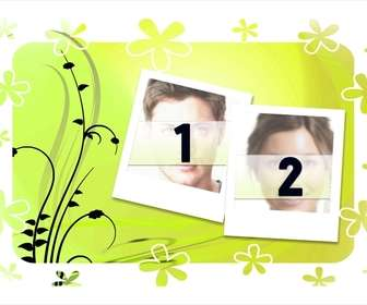 Ejemplo: Decora tus fotografías con esta plantilla para dos fotos, de fondo verde y marcos estilo polaroid.