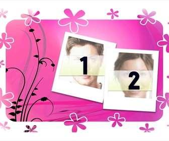Ejemplo: Moldura para duas fotos, fundo rosa com flores e desenhos vegetais. estilo Polaroid. Basta subir as imagens e baixar ou enviar os resultados de forma gratuita.