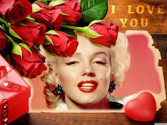 Love postcard with red roses to edit with your photos