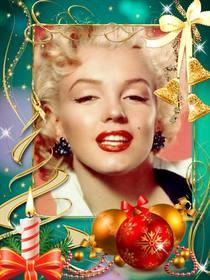 Cartolina con decorazioni natalizie di mettere la tua foto.