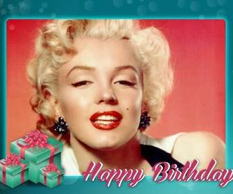 Birthday postcard with turquoise frame to congratulate the birthday of your friends and family.
