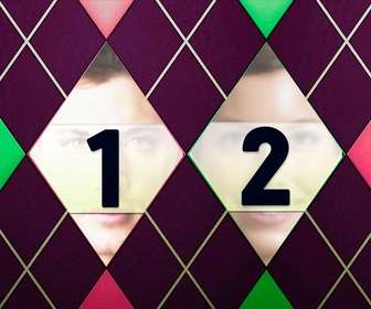 collage fotografias un estampado rombos tweed verde rosa morado
