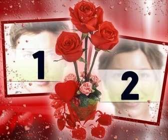 Marco para fotos en el que podrás poner dos imágenes que aparecerán unidas por unas rosas. fondo de color rojo con corazones.