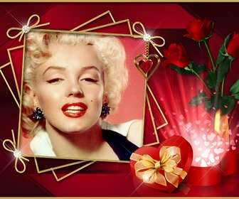 Ejemplo: Photo frame with elegant red background with roses and diamonds. To put your photo.