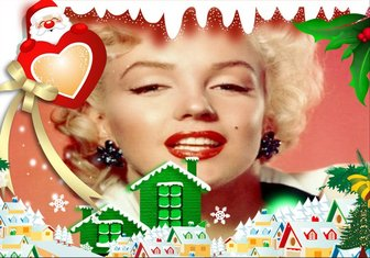 Ejemplo: Christmas card to put your background photo with Santa Claus with heart and snowy village.