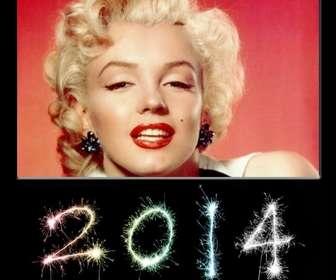 Ejemplo: Cartão postal para felicitar o ano novo de 2014, com os números escritos com chuviscos.