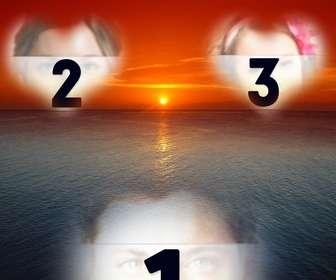 Postal para hacer online de una puesta de sol de cielo naranja sobre un mar azul.
