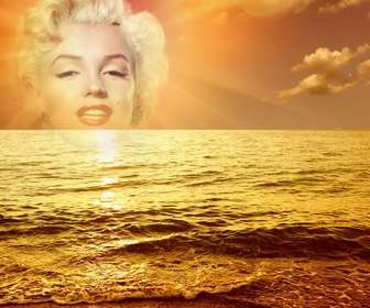 Ejemplo: Photomontage with a sunset marina, where a cut face or image appears in the center of the sun, bathing in a golden glow a slight sea swell.