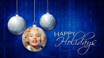 Scheda Holidays felice con tre palle di Natale e la tua foto.