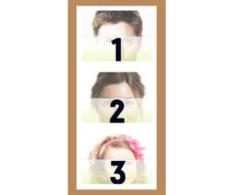 Ejemplo: Moldura para 3 fotos com borda branca e marrom.