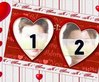 Ejemplo: Marco para dos fotos, postal para San Valentín. Edita este fotomontaje y muchos otros online, desde esta página gratuita.